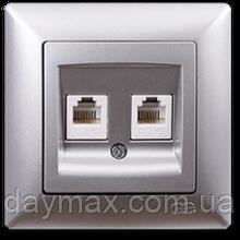 Розетка компьютерная + телефонная Gunsan Visage, VS 28 15 132, серебро