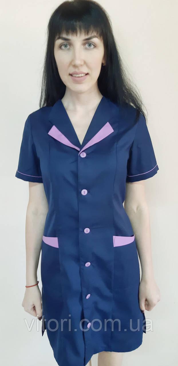 a9ffdfab52498 Медицинский женский халат цветной больших размеров на пуговицах короткий  рукав