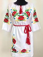 Вишите жіноче плаття льон з маками