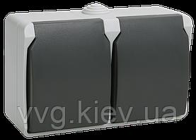 Розетка двухместная с з/к для открытой установки ФОРС IP54 РСб22-3-ФСр IEK