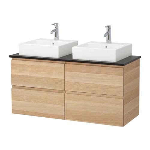 Шкаф с раковиной IKEA GODMORGON / TOLKEN / TÖRNVIKEN 122x49x72 см с 4 ящиками беленый дуб антрацит 191.865.12