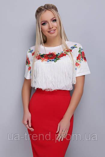 Женская футболка с бахромой и цветами