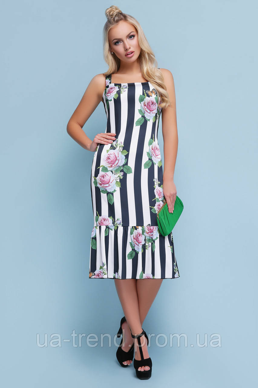 9349eeb6c24 Сарафан миди в полоску с цветами - Интернет-магазин украинского текстиля