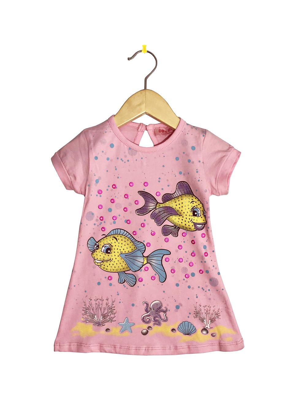"""Детское платье с коротким рукавом """"Водный мир"""""""
