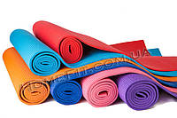 Коврик для йоги и фитнеса  6мм (173/61см) ПВХ, фото 1