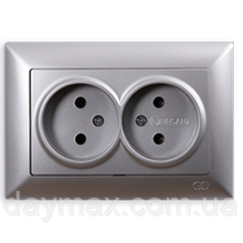 Розетка двойная Gunsan Visage, VS 28 15 149, серебро