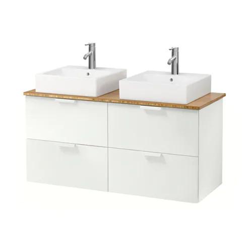 Шкаф с раковиной IKEA GODMORGON / TOLKEN / TÖRNVIKEN 122x49x72 см с 4 ящиками бамбук белый 991.851.51