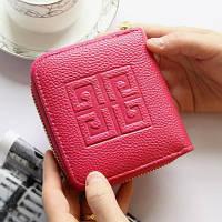 Женский кошелек в стиле Givenchy на молнии маленький малиновый, фото 1
