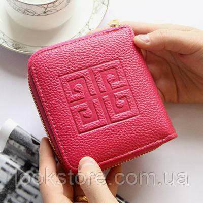 Женский кошелек в стиле Givenchy на молнии маленький малиновый