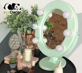 Зеркало для макияжа с лампочками мятное Star