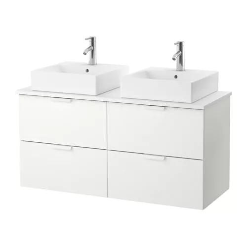 Шкаф с раковиной IKEA GODMORGON / TOLKEN / TÖRNVIKEN 122x49x72 см с 4 ящиками глянец белый 491.851.63