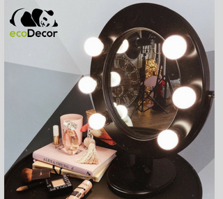 Зеркало для макияжа с лампочками черное Star