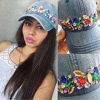 Женская джинсовая кепка бейсболка в камнях