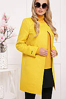 Модное легкое женское короткое пальто с поясом П-337 желтый горох