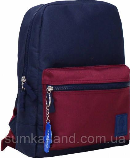 Молодежный сине-бордовый рюкзак Bagland mini 8л размером 32*23*10 см