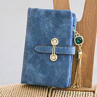 Женский кошелек из нубука CRYSTAL маленький с подвеской синий, фото 1