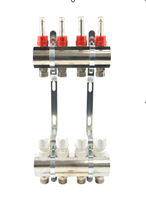 Коллектор для систем отопления GROSS латунь покрытая  на четыре выхода