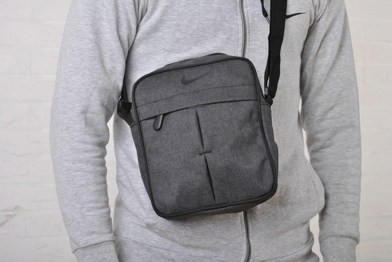 a7efff057c18 Сумка через плечо мужская серая текстиль найки/Nike купить в ...