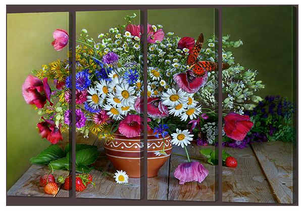 Модульная картина Натюрморт с цветами и клубникой 94* 64 см Код: w8444