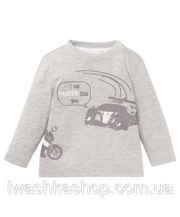Сірий лонгслив з машинкою для хлопчика 1 - 1,5 роки, Ergee р. 86