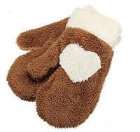 Женские зимние теплые варежки перчатки рукавицы рукавички