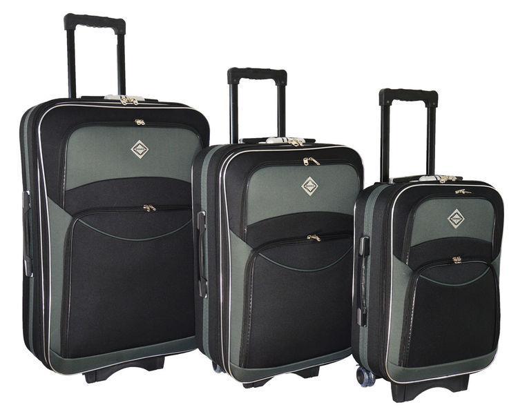 Чемодан сумка дорожный Bonro Style набор 3 штуки черно-серый