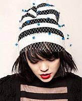 Женская зимняя теплая шапка вязанная яркая модная стильная