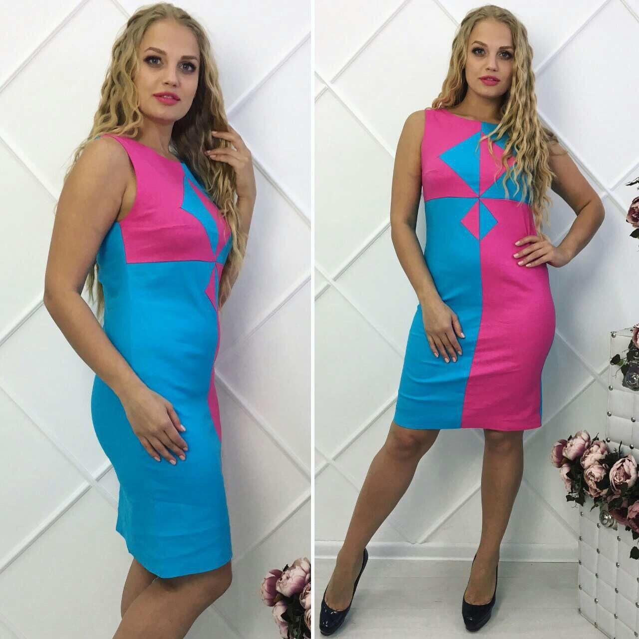 """Элегантное женское платье ткань """"Лен"""" +стрейч размер 48, 50, 52, 54 батал"""