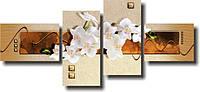 "Картина модульная ""Белые орхидеи и беж""  (800х1800 мм)  [4 модуля]"