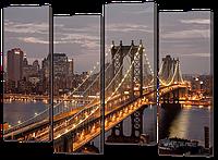 Модульная картина Мост, ночные огни 94* 69 см  Код: w7008