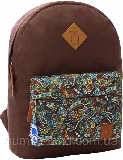 Молодежный коричневый рюкзак унисекс Bagland W/R 17 л (цвет 74) размер 38*29*15 см