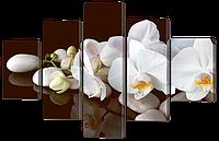 Модульная картина Белые орхидеи на белых камнях 108* 70 см Код: w 8379