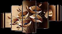 Модульная картина Бежевые маки 140* 80 см Код: w8405