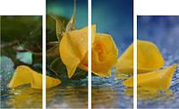 "Картина модульная ""Желтые розы на воде""  (700х1140 мм)  [4 модуля]"