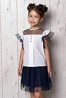 """Школьная  блуза c коротким рукавом для девочки """"Жасмин"""" 128, 134, 140, 146, 164р"""