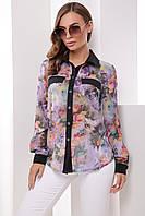 e453260d15d Легкая женская блузка-рубашка длинные рукава с цветочным принтом сирень