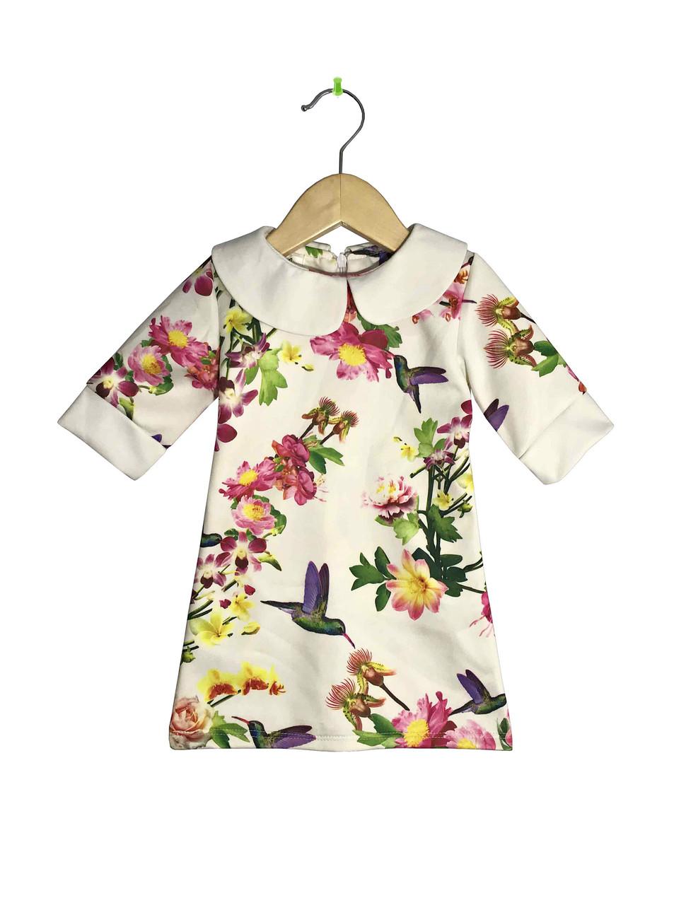 """Детское платье с воротником прямого фасона """"Цветы"""""""