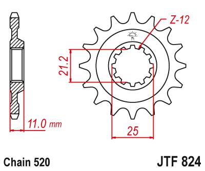 Звезда передняя JT Sprockets JTF824.16