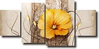 "Модульная картина ""Оранжевый цветок""  (800х1660 мм)  [4 модуля]"
