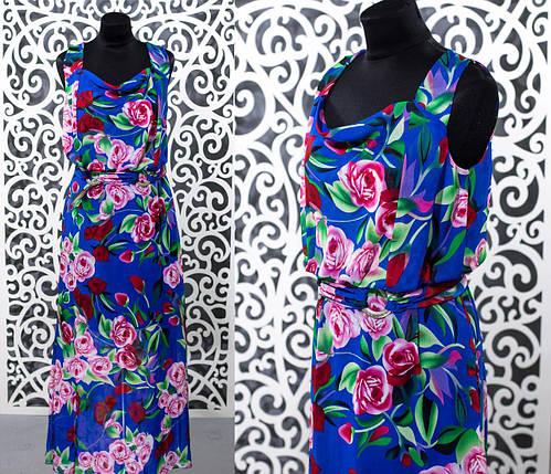 """Летнее женское платье в пол """"Шифон на подкладке"""" пояс в комплекте t 48 размеры баталы, фото 2"""