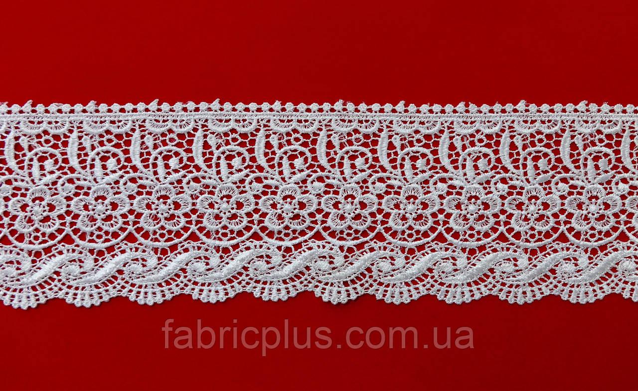 Кружево КМС 9 см белое вензель-цветок