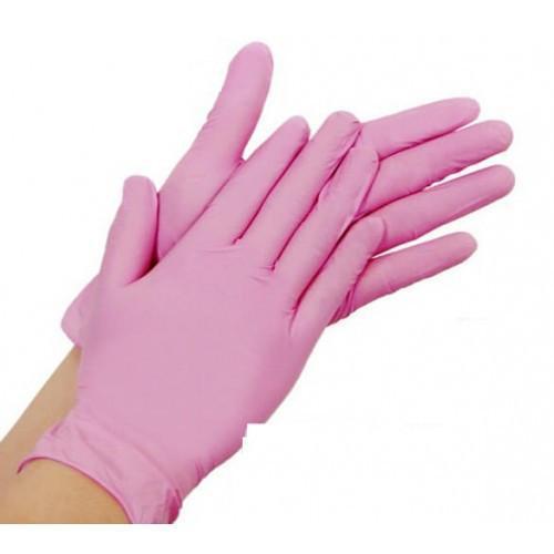 Перчатки нитриловые РОЗОВЫЕ  размер ХS, неопудренные 100шт .упаковка