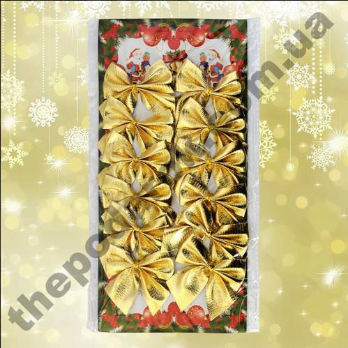 Новогодний декор Бантики (уп.12 шт) золото