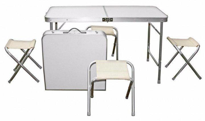 Складной стол для пикника с 4 стульями белый