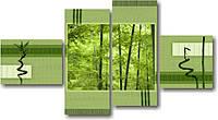 "Картина модульная ""Зеленый бамбук""  (1300х2410 мм)  [4 модуля]"