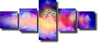 """Модульная картина """"Космос. Три планеты""""  (70х162 мм)  [5 модулей]"""