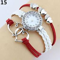 Часы браслет  красно-белые