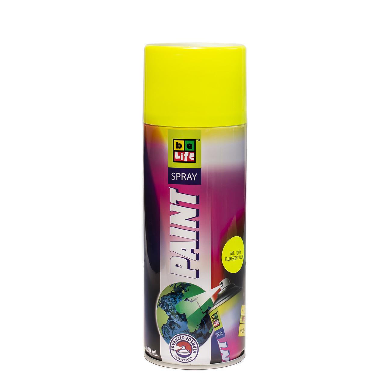 Краска спрей флуоресцентная  Belife Fluor Paint 1005 Желтый