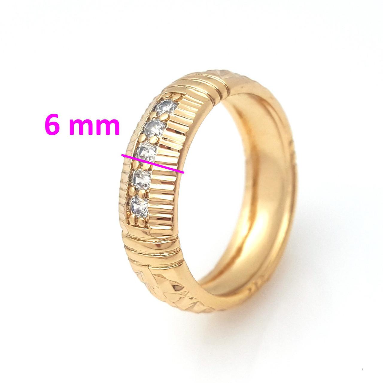 Кольцо с резным узором, 5 камней, р.17, р.18, р.19, позолота