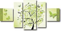 """Картина модульная """"Весеннее дерево""""  (700х1380 мм)  [5 модулей]"""